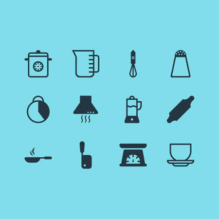 Vector Illustration Of 12 Kitchenware Icons. Editable Pack Of Frying Pan, Butcher Knife, Fruit Squeezer And Other Elements. Stock Illustratie