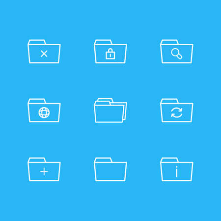 Vector Illustration Of 9 Document Icons. Editable Pack Of Magnifier, Folders, Information And Other Elements.