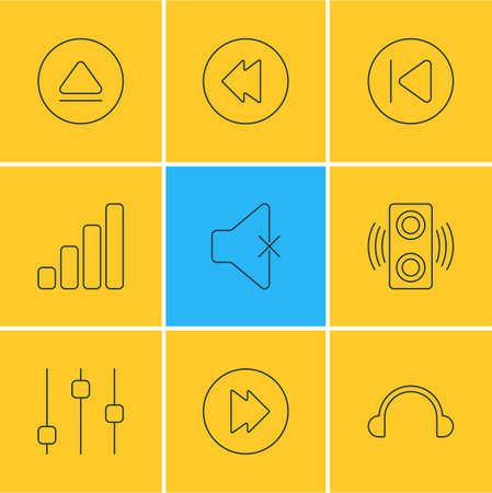 Vector Illustration Of 9 Music Icons. Editable Pack Of Stabilizer, Amplifier, Rewind And Other Elements. Illustration