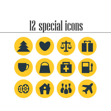 Vector Illustration Of 12 Check-In Icons. Editable Pack Of Present, Coffee Shop, Jungle And Other Elements. Иллюстрация