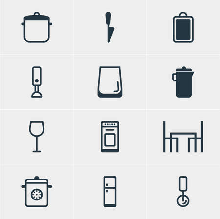 Vector Illustration Of 12 Restaurant Icons. Editable Pack Of Soup Pan, Oven, Glass Cup And Other Elements.