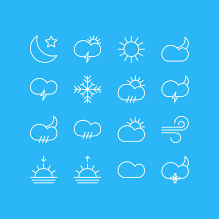 Vector Illustration Of 16 Atmosphere Icons. Editable Pack Of Sunset, Moon Month, Sunrise And Other Elements.