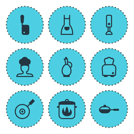 Vector Illustration Of 9 Restaurant Icons. Editable Pack Of Stewpot, Skillet, Bread And Other Elements.