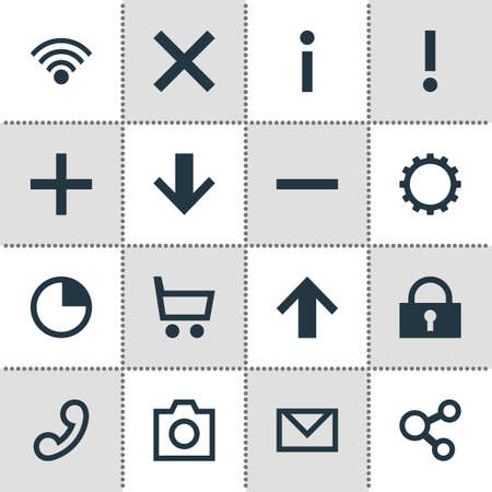 Vector Illustration Of 16 User Icons. Editable Pack Of Letter, Info, Wrong And Other Elements. Illustration
