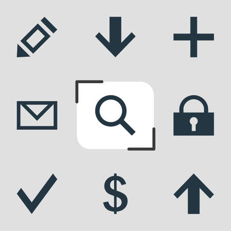 Vector Illustration Of 9 Member Icons. Editable Pack Of Top, Downward, Padlock And Other Elements.