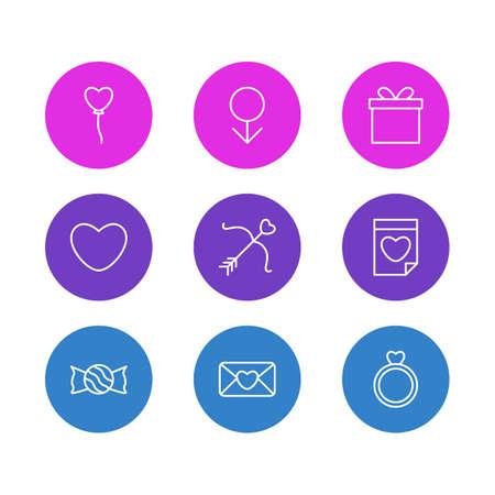 Illustration vectorielle de 9 icônes de la passion. Pack modifiable de décoration, Valentine, sucette et autres éléments. Banque d'images - 86217839