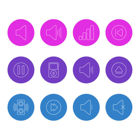 Vector Illustration Of 12 Melody Icons. Editable Pack Of Lag, Acoustic, Preceding And Other Elements.