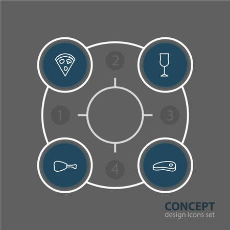 Vector Illustration Of 4 Restaurant Icons. Editable Pack Of Wineglass, Bacon, Leg And Other Elements.