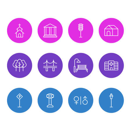 Vector Illustration Of 12  Icons. Editable Pack Of Semaphore, Golden Gate, Courthouse And Other Elements.