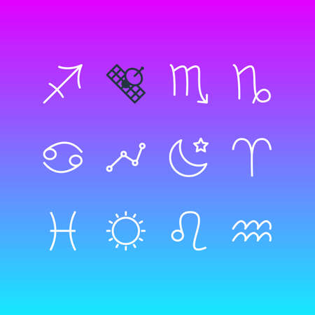 Vector Illustration Of 12 Astrology Icons. Editable Pack Of Water Bearer, Fishes, Archer And Other Elements.