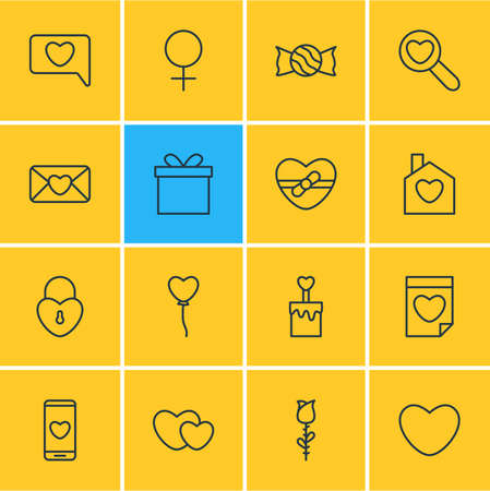pareja comiendo: Vector Illustration Of 16 Amour Icons. Editable Pack Of Home, Lock, Hearts And Other Elements. Vectores
