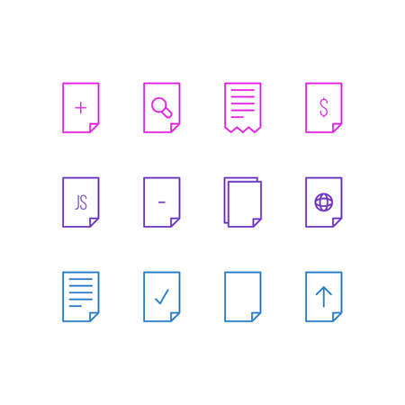Editable Pack Of Document, Done, Internet And Other Elements.  Vector Illustration Of 12 Page Icons. Illustration
