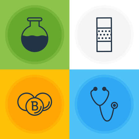 Editable Pack Of Pulse, Painkiller, Vial And Other Elements.  Vector Illustration Of 4 Medical Icons.