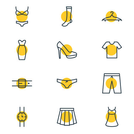 Editable Pack Of Hosiery, Panties, Sandal Elements.  Vector Illustration Of 12 Dress Icons.