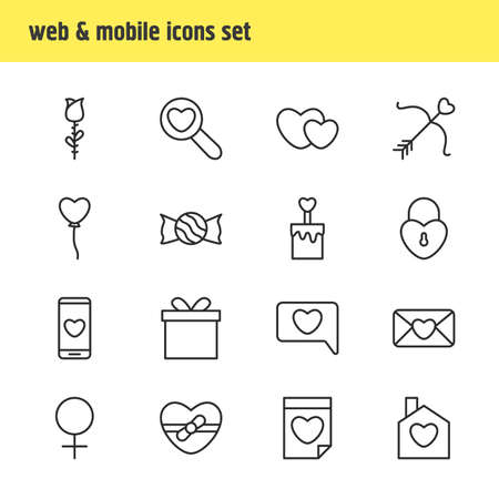 pareja comiendo: Editable Pack Of Cupid, Valentine , Candle Elements.  Vector Illustration Of 16 Love Icons.