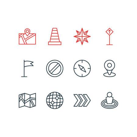 Bewerkbaar pakket van voorzichtigheid, blokkeren, oriëntatie en andere elementen. Vector illustratie van 12 locatie iconen.