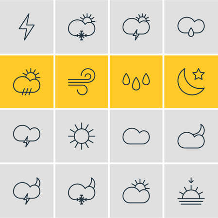 Editable Pack Of Sunlight, Moon Month, Sunny And Other Elements.  Vector Illustration Of 16 Atmosphere Icons.