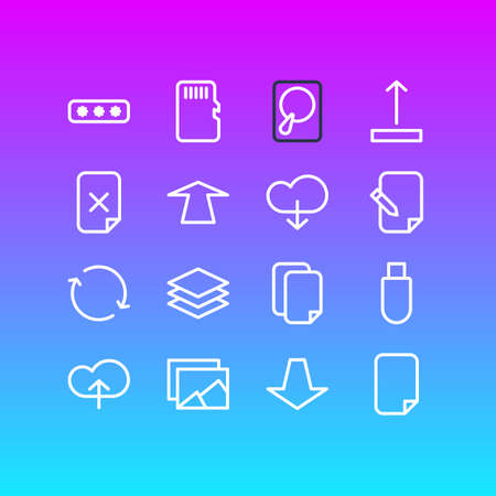 Editable Pack Of Hdd, Downward, Upload And Other Elements.  Vector Illustration Of 16 Storage Icons.