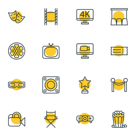 Editable Pack Of Resolution, Coupon, Slideshow And Other Elements.  Vector Illustration Of 16 Movie Icons.