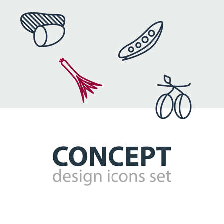 Editable Pack Of Green Onion, Legume, Tuber And Other Elements.  Vector Illustration Of 4 Vegetables Icons.
