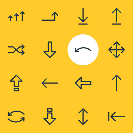 Editable Pack Of Tab , Randomize, Left Elements.  Vector Illustration Of 16 Direction Icons. Illustration