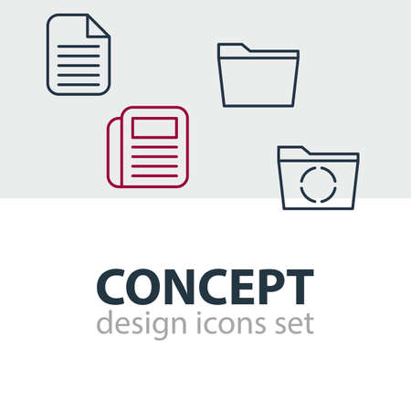 journalism: Editable Pack Of Blank, Loading, Template And Other Elements.  Vector Illustration Of 4 Office Icons.
