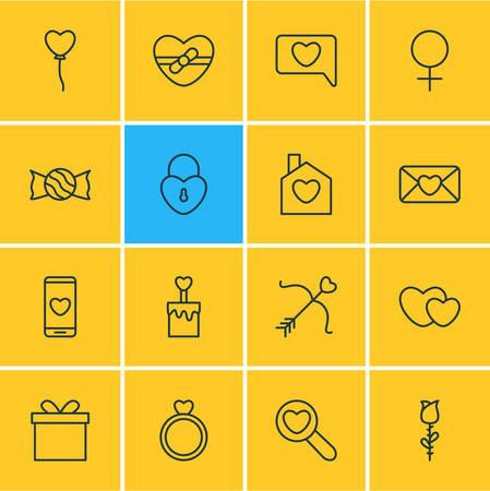 Pack modifiable de présent, Rose, Messenger et autres éléments. Illustration vectorielle de 16 icônes de la passion. Banque d'images - 87119020