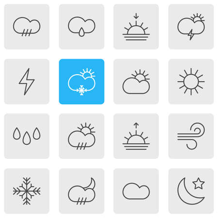 Editable Pack Of Crescent, Drip, Sunny And Other Elements.  Vector Illustration Of 16 Atmosphere Icons. Illustration