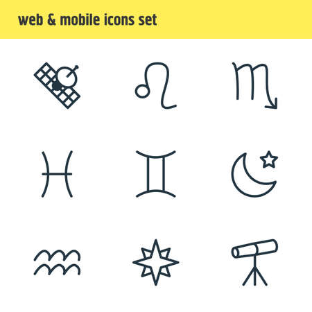 Editable Pack Of Favorite, Zoom Glass, Twins And Other Elements.  Vector Illustration Of 9 Galaxy Icons. Illustration