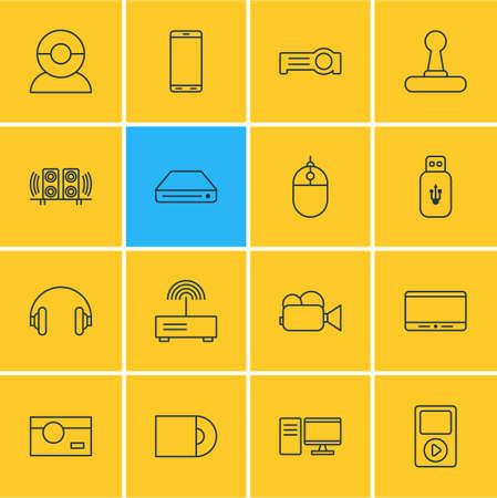 electronic components: Editable Pack Of Video Chat, Headset, Photography And Other Elements.  Vector Illustration Of 16 Technology Icons. Illustration