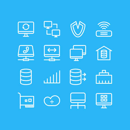 Editable Pack Of Ethernet, Card, Os Client And Other Elements.  Vector Illustration Of 16 Network Icons. Illustration