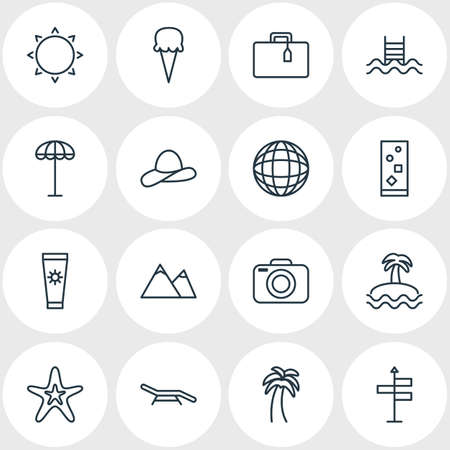 Editable Pack Of Swimming, Hill , Island Elements.  Vector Illustration Of 16 Season Icons.