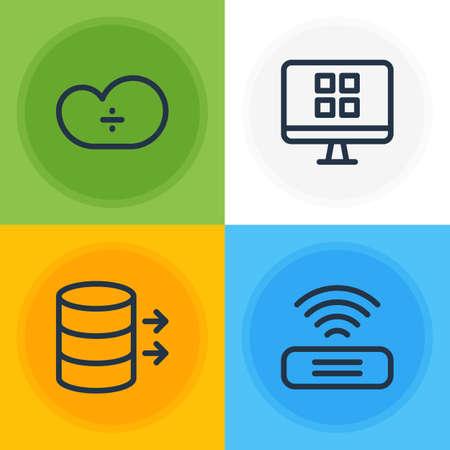 Paquete editable de almacenamiento en la nube, transferencia, Os Client y otros elementos. Ilustración vectorial de 4 iconos de red.