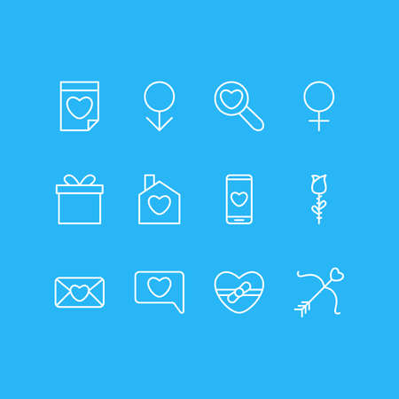Vector Illustration Of 12 Love Icons. Editable Pack Of Smartphone, Present, Woman And Other Elements.