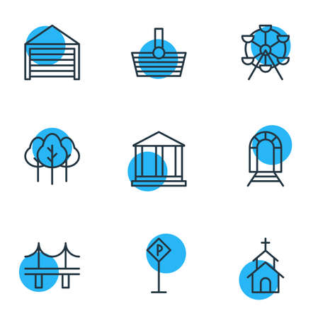 Vector Illustration Of 9 Infrastructure Icons. Editable Pack Of Basket, Ferris Wheel, Forest And Other Elements.