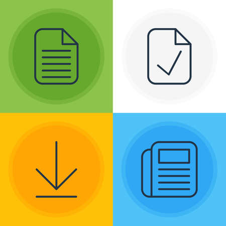 journalism: Vector Illustration Of 4 Office Icons. Editable Pack Of Blank, Downloading, Journal And Other Elements.