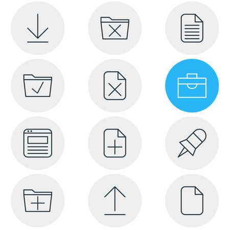 Vector Illustration Of 12 Office Icons. Editable Pack Of Delete, Note, Document And Other Elements.