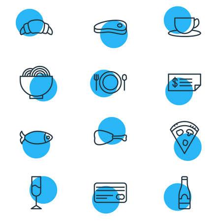 Un'illustrazione di vettore di 12 icone di cibo. Pacchetto modificabile di alcol, pancetta, carta e altri elementi.