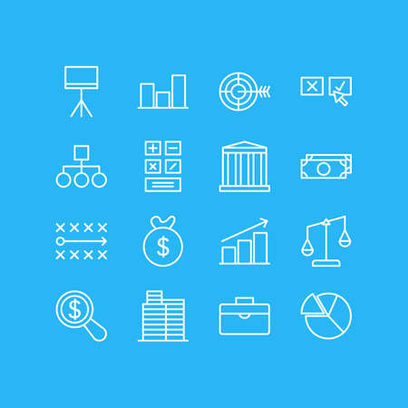 Vector Illustration Of 16 Trade Icons. Editable Pack Of House, Building, Calculate And Other Elements.