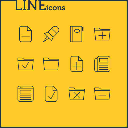 Vector Illustration Of 12 Office Icons. Editable Pack Of Book, Add, Deleting Folder And Other Elements.