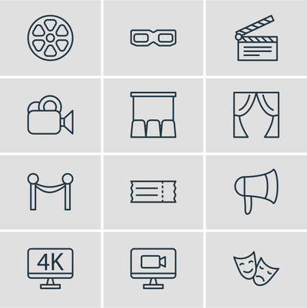 Vector Illustration Of 12 Film Icons. Editable Pack Of Clapper, Coupon, Camera And Other Elements. Illustration