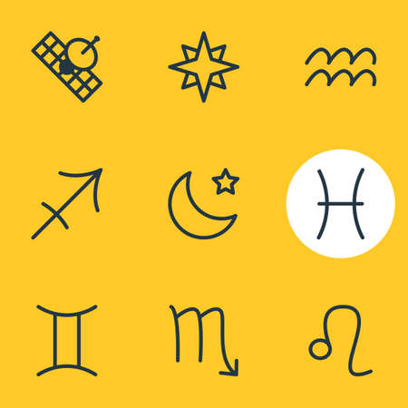 Vector Illustration Of 9 Astrology Icons. Editable Pack Of Zodiac Sign, Water Bearer, Archer And Other Elements.