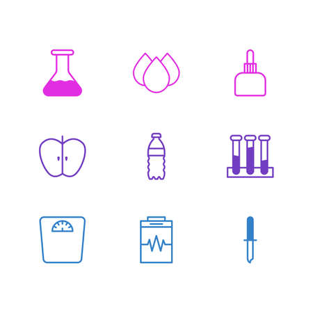 healing: Vector Illustration Of 9 Medical Icons. Editable Pack Of Fresh Fruit, Trickle, Flask And Other Elements. Illustration