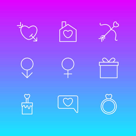 Vector Illustration Of 9 Love Icons. Editable Pack Of Cupid, Male, Woman And Other Elements.
