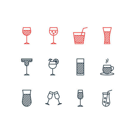 Vector Illustration Of 12 Drinks Icons. Editable Pack Of Drink, Cocktail, Juice And Other Elements.