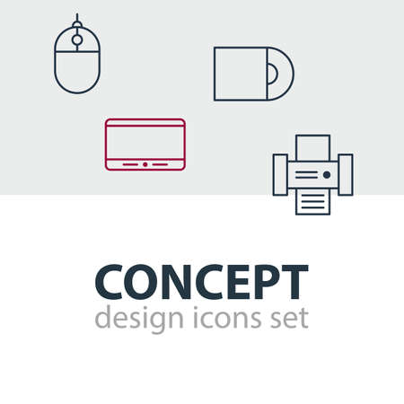 electronic components: Vector Illustration Of 4 Accessory Icons. Editable Pack Of Cursor Controller, Photocopier, Dvd Drive And Other Elements.