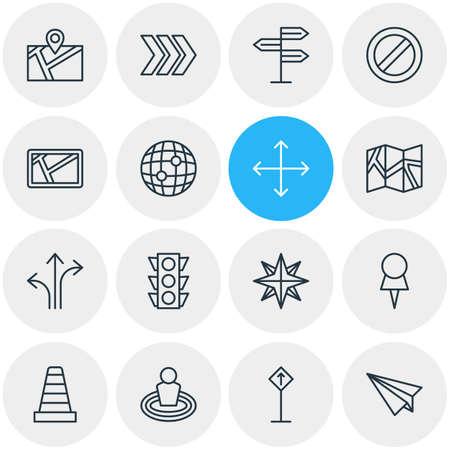 Vector illustratie van 16 navigatie pictogrammen. Bewerkbare verpakking van wegwijzer, pin, wereld en andere elementen. Stock Illustratie
