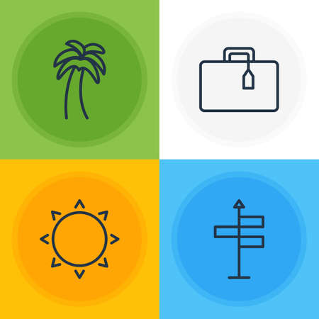 valise: Vector Illustration Of 4 Season Icons. Editable Pack Of Suitcase, Sunny, Guide And Other Elements.