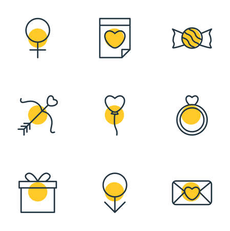 Vector Illustration Of 9 Amour Icons. Editable Pack Of Decoration, Woman, Engagement And Other Elements. Illustration