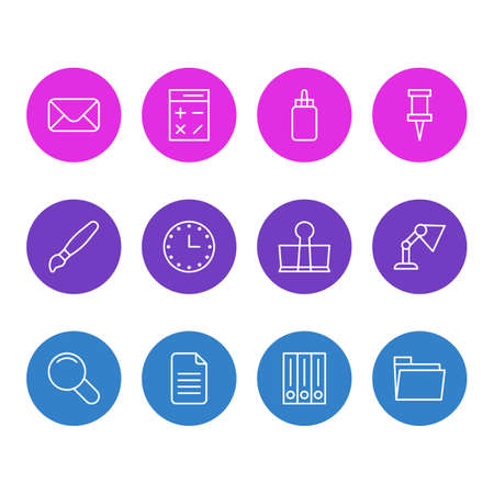 Vector Illustration Of 12 Instruments Icons. Editable Pack Of Binder Clip, Calculate, Paint And Other Elements.